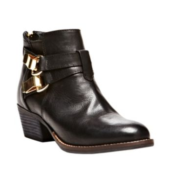 RESPCTIT BLACK LEATHER women's bootie mid casual - Steve Madden