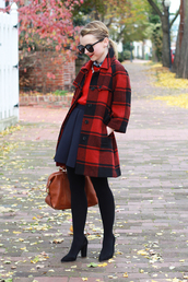 poor little it girl,blogger,jewels,bag,flannel,coat,red sweater,navy,flare skirt,opaque tights