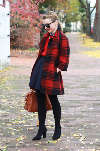 poor little it girl blogger jewels bag flannel coat red sweater navy flare skirt