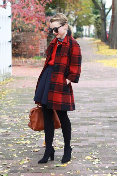 navy blogger bag jewels coat poor little it girl flannel red sweater flare skirt