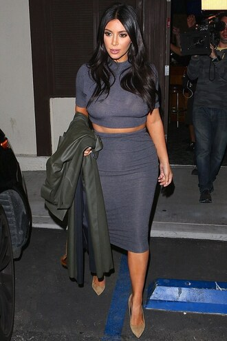skirt pencil skirt crop tops grey kim kardashian pumps shoes