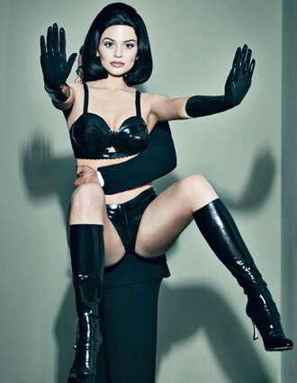 underwear boots latex all black everything sexy kylie jenner editorial bra black bra vinyl