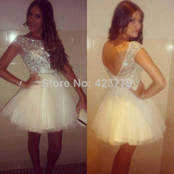 Aliexpress.com : Buy New Fashion A line V Backless Beaded Top Homecoming Dresses 2014 Sheer Neckline Short Tulle Prom Gowns from Reliable gown ball dress suppliers on 27 Dress