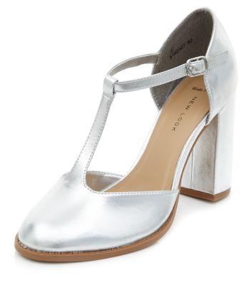Wide Fit Silver T-Bar Block Heels
