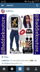 chris brown,outfit idea,baddiekouture_,jewels,jeans,sweater,hat,instagram,outfit,killin it,red lipstick