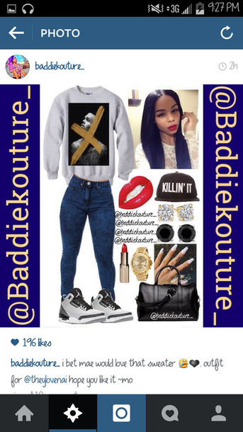 chris brown outfit idea baddiekouture_ jewels jeans sweater hat instagram outfit killin it red lipstick