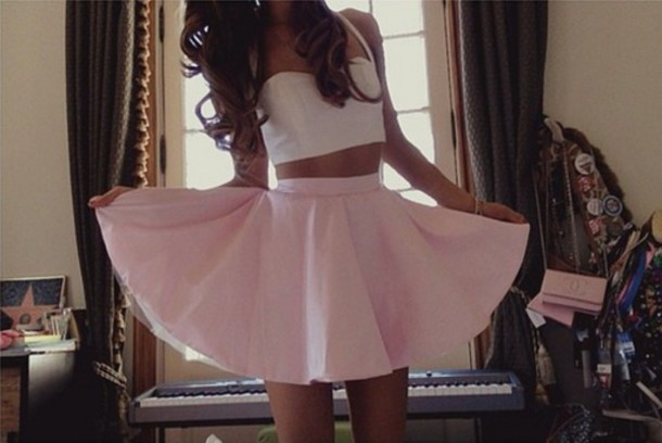 skirt clothes crop tops pink skirt vintage Pin up white crop tops high waisted skirt dress top tank top pink ariana grande skater skirt ariana grande white crop top light pink skater skirt kenley collins crop tops white top circle skirt shirt