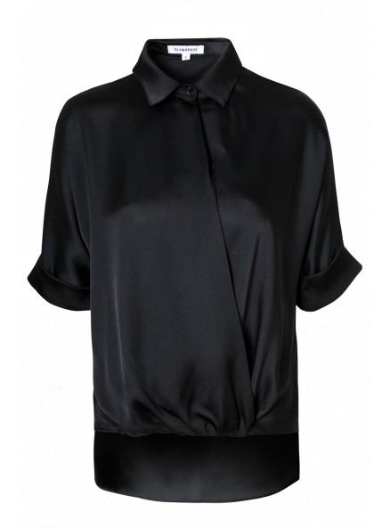 Black Satin Wrap Blouse