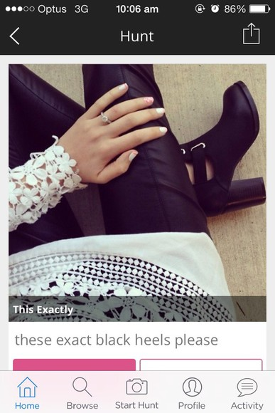 shoes black shoes black leather pants white crochet top crochet tunic