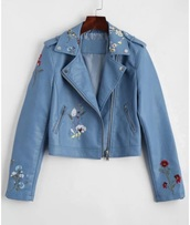 jacket,girly,blue,leather,leather jacket,embroidered,floral,flowers,biker jacket