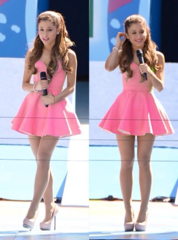 shoes pink dress short dress ariana grande ariana grande heels high heels ariana grande pink skater dress