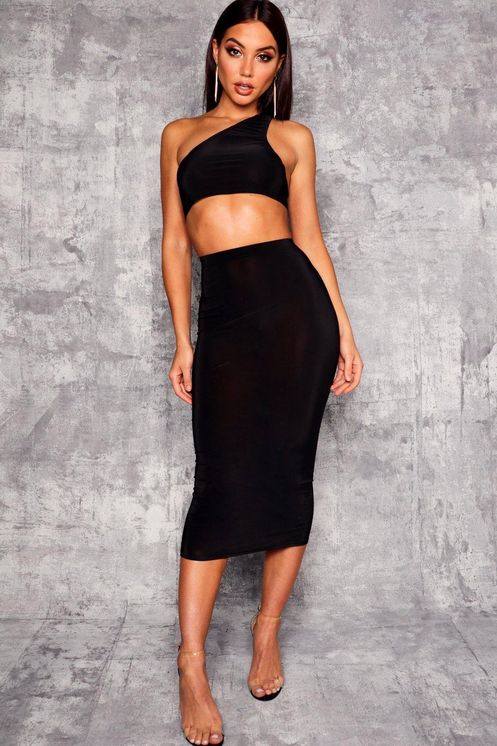 Basic High Waist Slinky Fitted Midaxi Skirt | Boohoo