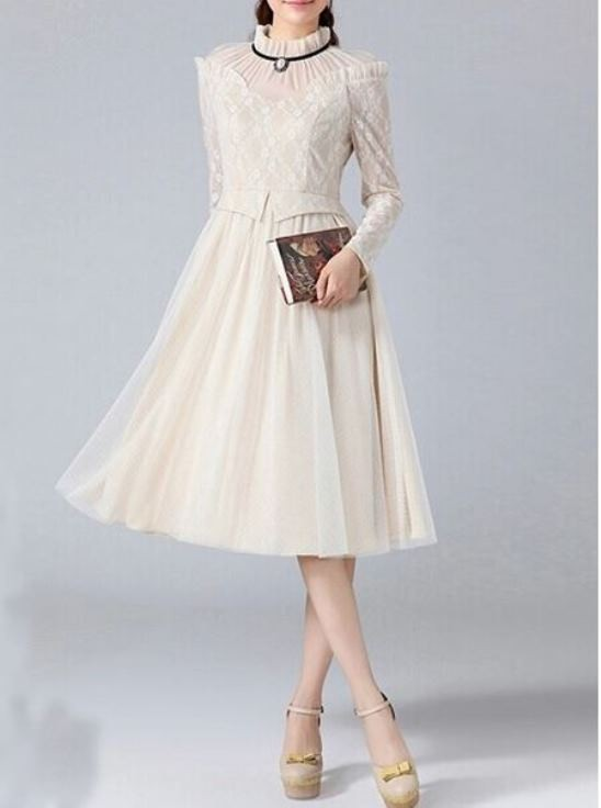 Off white classic vintage style high collar dress