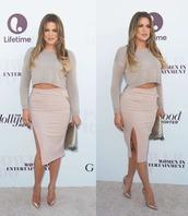 skirt,shoes,khloe kardashian,nude,crop tops,high heels