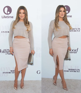 skirt shoes khloe kardashian nude crop tops high heels