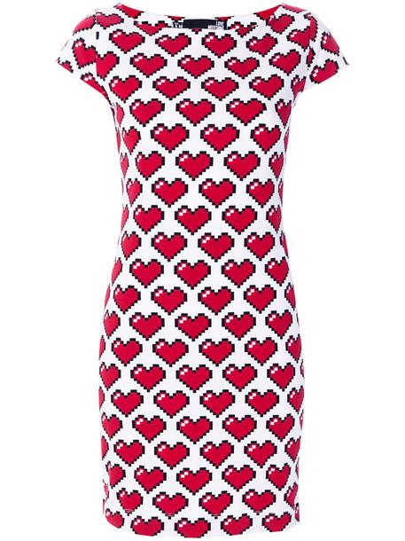 LOVE MOSCHINO dress heart women spandex white cotton