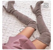 shoes,high heels boots,knee high boots,grey boots,suede boots