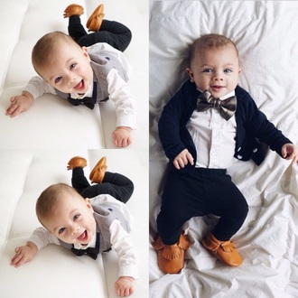 cardigan cute navy blue sweater bow bows bowtie vest moccasins kids moccasins dapper baby clothing joggers fashion kids fashion kids clothes kids shoes