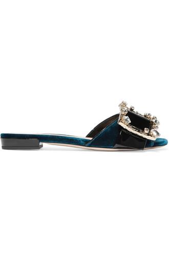 embellished mules leather velvet petrol shoes