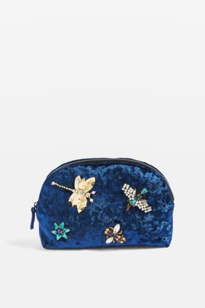 Topshop embellished bag navy blue