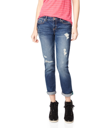 Medium Wash Destroyed Cropped Jean -