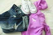 jacket,victoria's secret,pink by victorias secret,purple jacket,capris,capri,capri oants,converse,white,white converse,denim capri,denim capris,pants,shoes