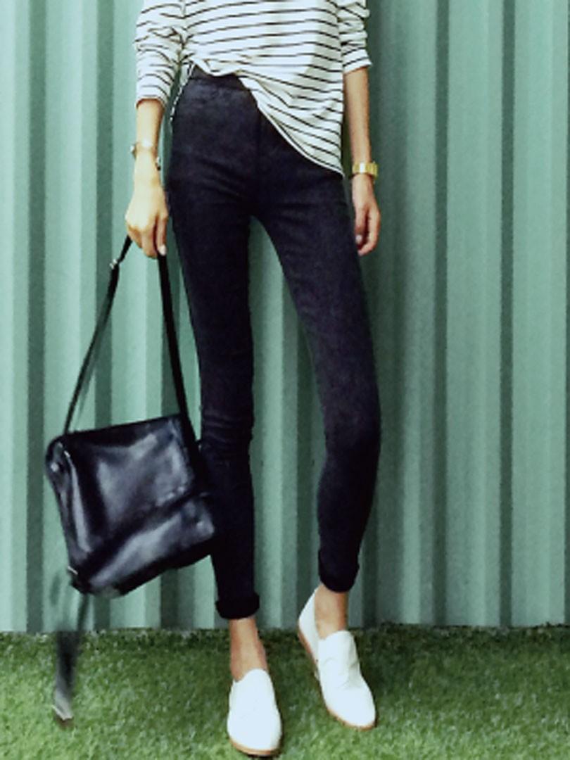 Schwarze Elastische TailleEnge Jeans