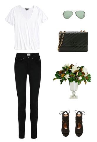 krystal schlegel blogger t-shirt sunglasses bag shoes jeans