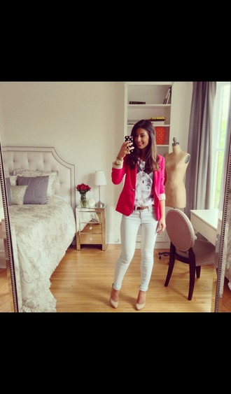 t-shirt bunny pink blazer white jeans summer outfits cardigan