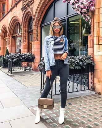 top tumblr crop tops stripes striped top jacket blue jacket denim denim jacket jeans bag boots white boots sunglasses