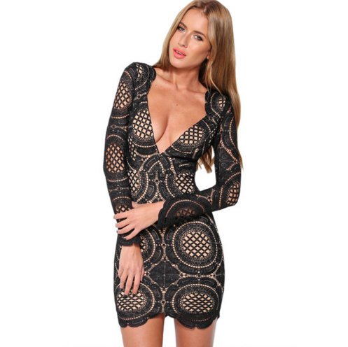 Lucille Deep-V Lace Party Dress – Dream Closet Couture