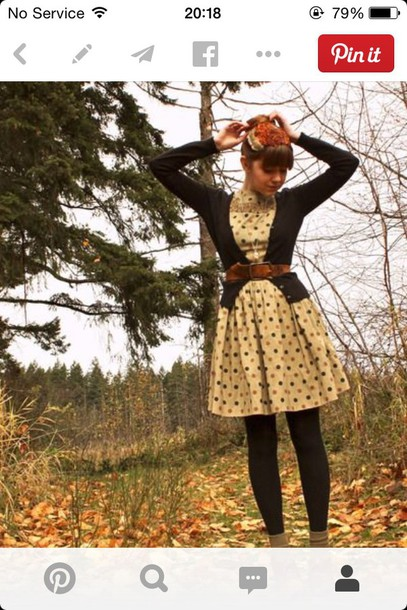 dress spotty vintage navy belt pinterest