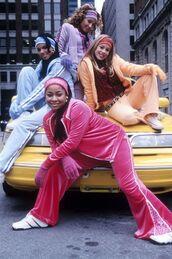 jumpsuit,cheetah girls,tracksuit,hair accessory,pants,gloves,velvet,coat,cheetahgirls,disney,orange,blue,purple,pink