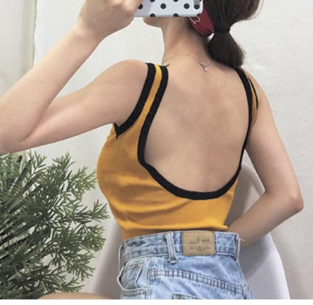 blouse girly yellow mustard bodysuit black low back