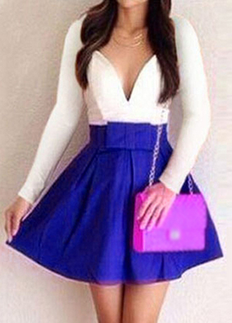 dress rotita long sleeve sexy blue white