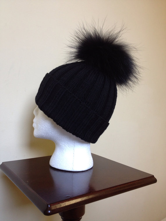 READY TO SHIP  Ribbed Black Wool Beanie Hat  by HandmadeKnitsHats