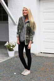 sweater,grey hoodie,camo jacket,black leggings,white sneakers,blogger