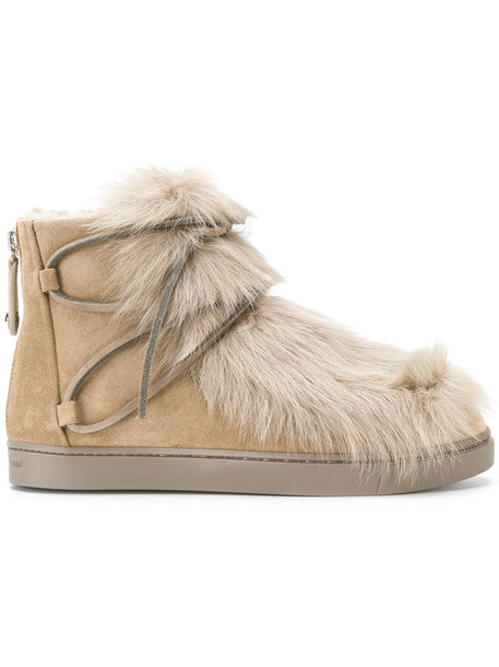 Gianvito Rossi snow boots fur women snow nude suede shoes