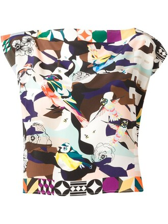 blouse women print silk top