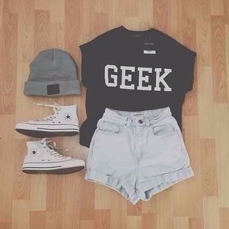 shirt shorts shoes t-shirt dress hat skirt top cool black shirt hipster hair accessory high waisted ripped tumblr geek blouse black t-shirt
