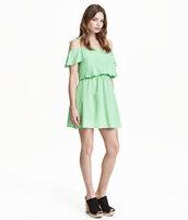 dress,pastel dress,off the shoulder
