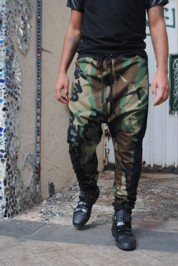 Army Camo with Black Cotton Lycra Drop Crotch  Harem by GAGTHREADS