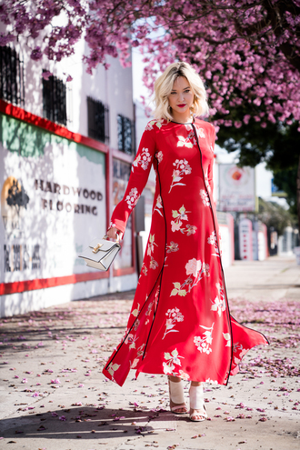 late afternoon blogger dress shoes bag jewels red dress maxi dress sandals spring outfits