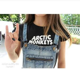 shirt arctic monkeys overalls denim overalls
