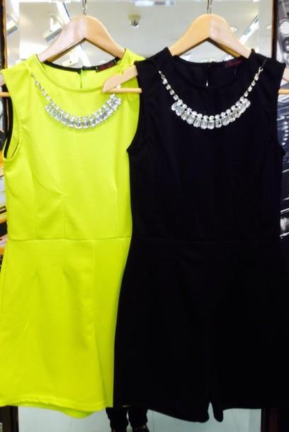 dress neon summer necklace silver lime dress romper zip back summer dress