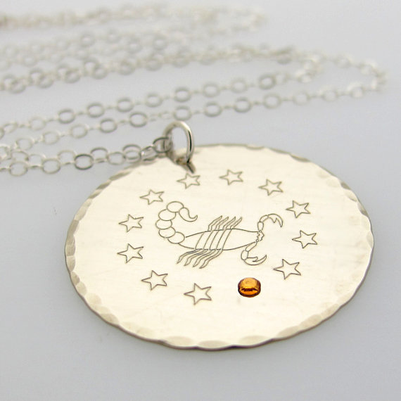 Zodiac sterling silver pendant necklace with birthstone zodiac sterling silver pendant necklace with birthstone personalized engraved scorpio sign jewelry custom scorpio pendant aloadofball Images