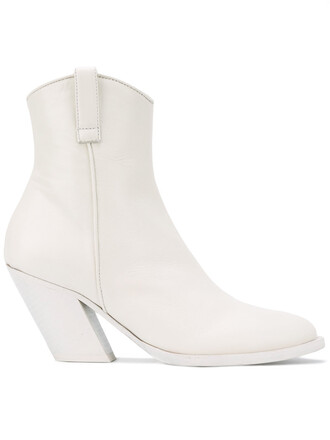women boots leather white shoes