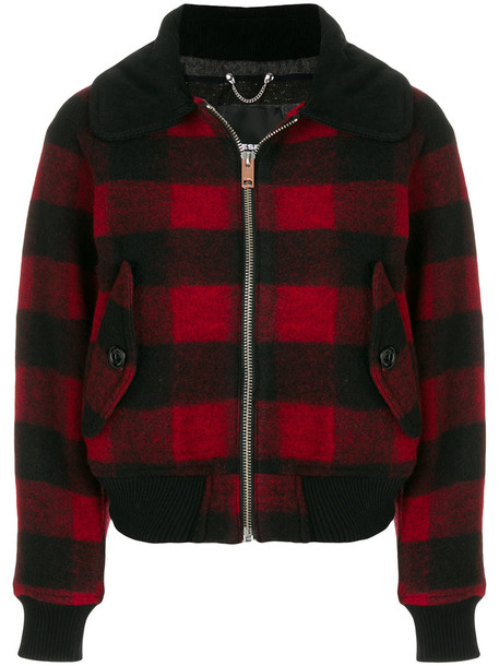 Diesel - plaid jacket - women - Cotton/Acrylic/Polyester/Wool - S, Red, Cotton/Acrylic/Polyester/Wool