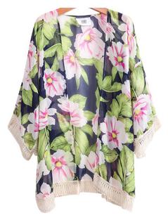 Navy Long Sleeve Floral Tassel Loose Top
