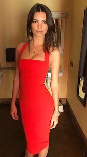 dress,red dress,red,emily ratajkowski,bodycon dress,cute dress